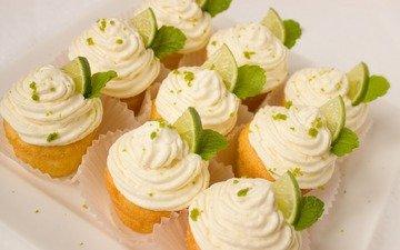 lime, dessert, cakes, cream, cupcakes