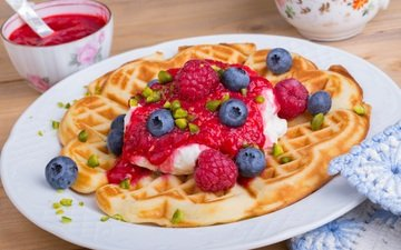 ice cream, berries, dessert, waffles, syrup