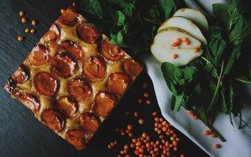 mint, fruit, dessert, pie, plum, pear, apricots