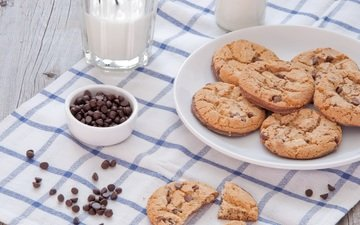 glass, chocolate, milk, cookies