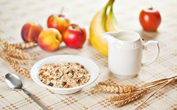 фрукты, яблоки, кружка, завтрак, тарелка, бананы, ложка, мюсли