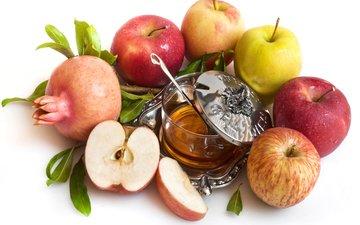 fruit, apples, honey, garnet