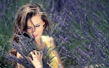 цветы, девушка, лаванда, букет