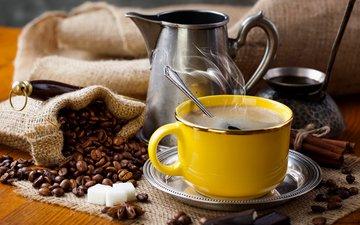 напиток, корица, кофе, чашка, шоколад, пар, кофейные зерна, бадьян