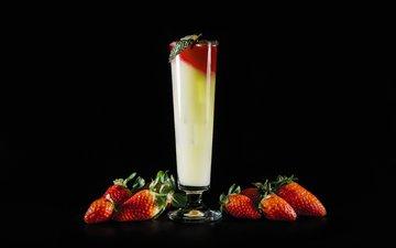 напиток, клубника, черный фон, ягоды, коктейль