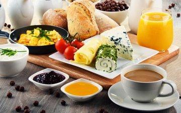 food, coffee, jam, cheese, bread, breakfast, honey, 3, cereal, juice, yogurt, cutting board