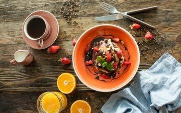 oranges, strawberry, coffee, breakfast, chocolate, cream, pancakes, juice