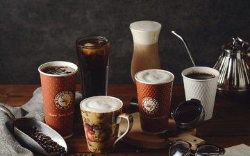 кофе, напитки, стаканы, кофейные зерна
