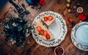 клубника, ягоды, сладкое, торт, десерт, крем
