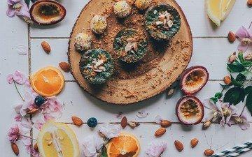 фрукты, черника, выпечка, натюрморт, миндаль, кексы