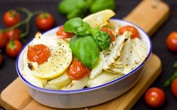 лимон, овощи, помидоры, базилик, фенхель