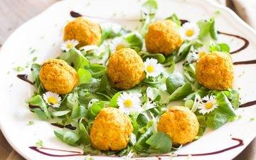 еда, шарики, витамины, овощи, яйцо, салат, карри