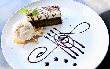 мороженое, шоколад, десерт, ваниль, пирожное