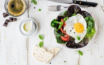 кофе, завтрак, яичница