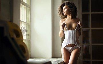 девушка, брюнетка, взгляд, модель, грудь, фигура, корсет, классная, stepan