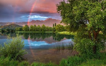 mountains, nature, rainbow, pond