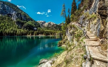 lake, mountains, nature, trail