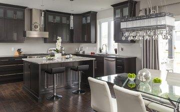 стол, кухня, люстра, мебель, стулья, декор