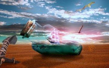 берег, море, бутылка