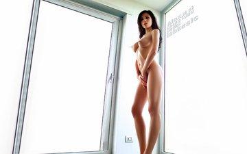 девушка, поза, окно, руки, сиськи, стоит, эротика