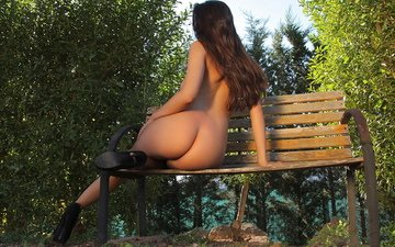 girl, pose, ass, back, bench, shop