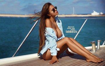 girl, pose, sitting, tits, deck, neckline