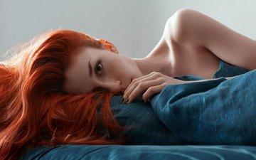 девушка, волосы, макияж, рыжие, крупно
