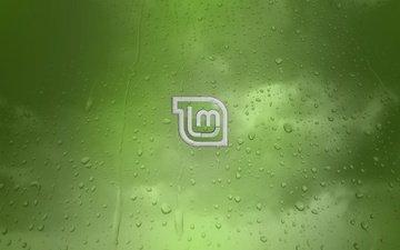 фон, капли, логотип, компьютеры, линукс, linux mint