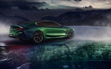горы, тучи, лёд, 2018, сзади, купе, бмв, сбоку, m8 gran coupe concept