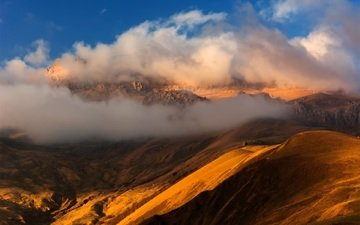 the sky, light, clouds, the evening, mountains, the sun, sunset, panorama, spring, the caucasus