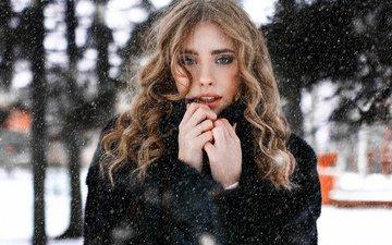 снег, зима, девушка, модель