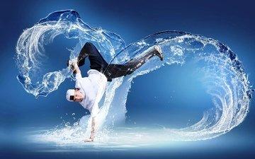 вода, креатив, танец, мужчина, брейк данс