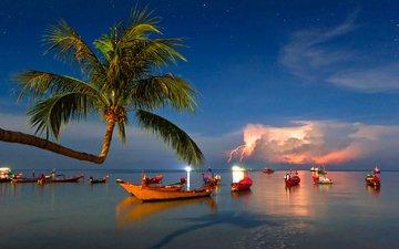 вечер, море, лодки, пальма, гроза, тропики