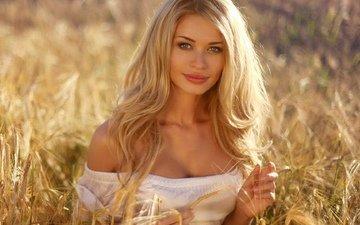 девушка, блондинка, грудь, длинные волосы, русская девушка