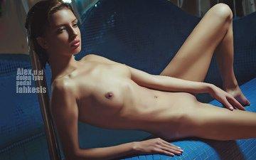 девушка, поза, лежит, модель, сиськи
