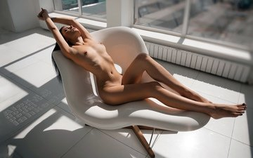 girl, sitting, tits, nude, belly, nipples, hip, boobs, closed eyes, hips, armpit, armpits