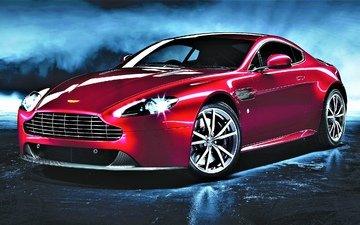 стиль, отражение, красный, авто, машины, 2012 год, астон мартин, vantage, вид сбоку