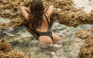 вода, река, девушка, море, поза, попа