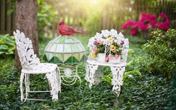 flowers, nature, summer, garden, chair, basket, table