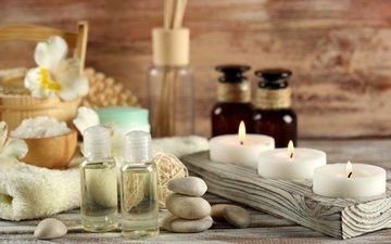 свечи, камни, масло, спа, соль, ароматерапия