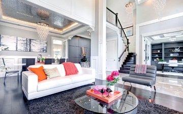 интерьер, дизайн, люстра, кресло, мебель, диван, гостиная