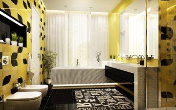 желтый, интерьер, дизайн, черный, ванна, ванная