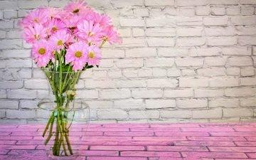 цветы, букет, розовый, ваза, маргаритки
