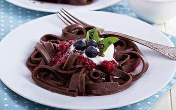 мята, малина, мороженое, ягоды, шоколад, салфетка, сладкое, десерт, дерева, шоколадная паста