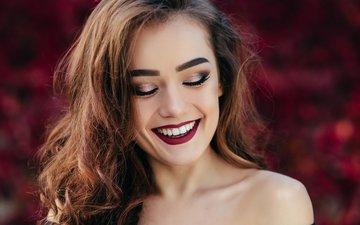 девушка, улыбка, портрет, модель, губы, лицо, макияж, прическа