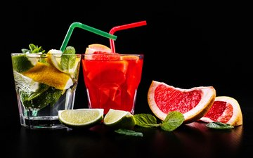 мята, лимон, черный фон, лайм, стакан, цитрусы, грейпфрут, лимонад