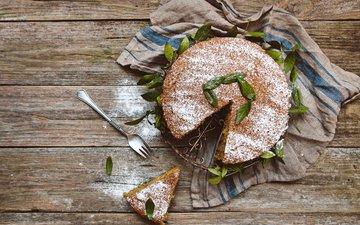выпечка, десерт, бисквит, сахарная пудра, пирог, дерева, декорация, листья