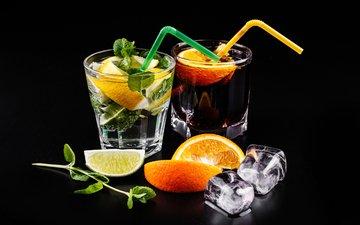 мята, напиток, лёд, апельсин, лайм, коктейль, кола, мохито, махито