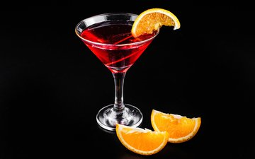напиток, бокал, черный фон, апельсин, коктейль