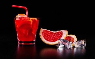 напиток, коктейль, цитрус, грейпфрут, кубики льда